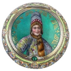 Antique Russian silver cloisonne and pictorial enamel snuff box by 11th Artel.