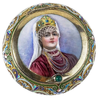 Antique Russian silver cloisonne and en plein pictorial enamel snuff box by 11th Artel.
