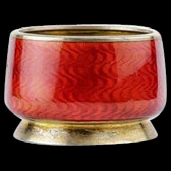 Antique Russian silver 88 guilloche enamel salt by Grachev.