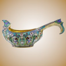 A large antique Russian silver 84 cloisonne shaded enamel kovsh by 11th Artel.