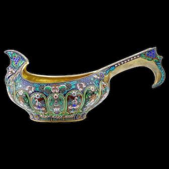 A large antique Russian silver 84 cloisonne shaded enamel kovsh by 11th Artel.