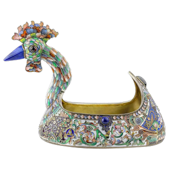 Rare antique Russian silver 88 jeweled & cloisonne shaded enamel kovsh