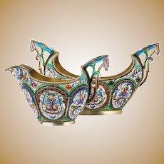 Antique Russian silver 84 cloisonne shaded enamel creamer & sugar bowl by Orest Kurlyukov