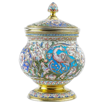 Antique Russian silver 88 cloisonne shaded enamel covered vase.