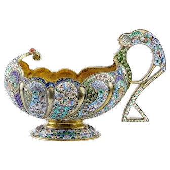 Antique Russian silver 84 cloisonne and shaded enamel large and heavy kovsh with special handle.