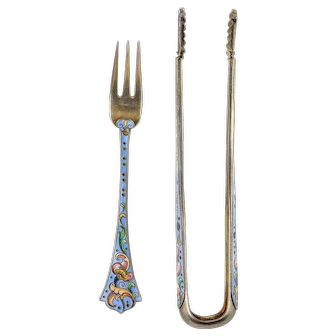 Antique Russian silver 84 cloisonne shaded enamel matching tong and fork set by Feodor Ruckert.