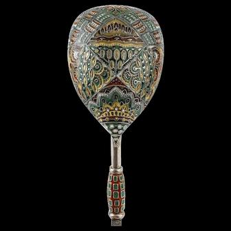 Antique Russian Faberge silver cloisonne enamel spoon, circa 1908-1917