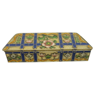 Rare antique Russian Faberge silver 88 cloisonne enamel box by Feodor Ruckert