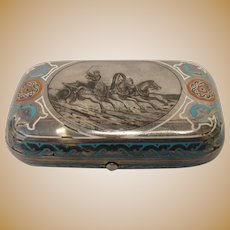 Antique Russian 91 silver pictorial enamel cigarette case by Pavel Ovchinnikov