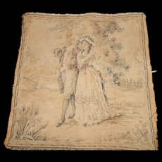 """Older French 9 1/2 x 9 1/2"""" Tapestry of Colonial Dressed Man & Woman Walking in Garden Setting FREE SHIPPING USA"""