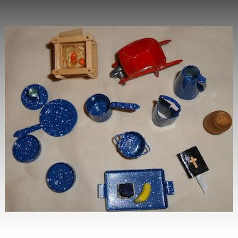 Delightful Assortment of Miniature Splatter Ware Cooking Items With Other Items