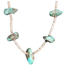 17.5 Inches Turquoise Nugget Heishi Pen Shells Necklace