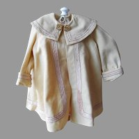 c1895 Antique Super-Fine Homespun Wool Coat For Your French, German or other Bisque Dolls