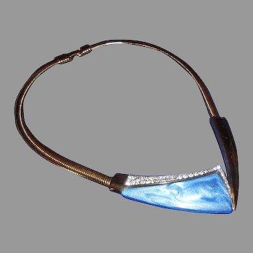 Trifari: Modernist Choker Necklace with Blue Lucite & Rhinestones