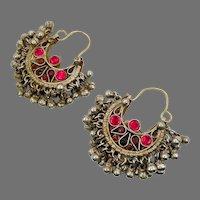 Kuchi Earrings, Hoops, Afghan, Boho, Old, Fuchsia Pink, Red, Middle Eastern, Ear Weights, Green, Patina, Ethnic Jewelry