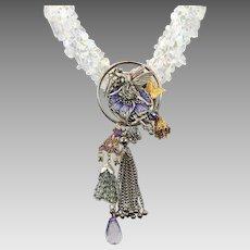 Fairy Necklace, Opalite Beads, Purple Lavender, Artisan, Big Statement, Bib Tassel, Goddess, Assemblage Collage, Butterfly, OOAK, Goddess