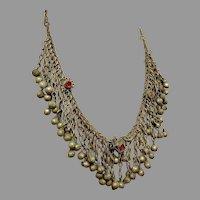 Gypsy Necklace, Belly Dance, Afghan, Vintage Kuchi, Bells, Middle Eastern, Glass Jewels, Patina, Big Statement, Bohemian Boho