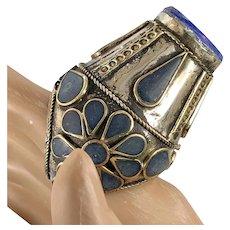 Turkish, Kuchi Ring, Blue Enameled, Statement Ring, Afghan Ethnic, Boho Bohemian, Gypsy, Unisex, Tribal, Cobalt Blue, Massive, Huge, Large