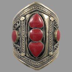Boho Cuff, Hearts, Red, Kuchi Bracelet, Silver Cuff, Gypsy, Vintage Bracelet, Middle Eastern, Turkmen, Big Statement, Afghan, Ethnic, Large
