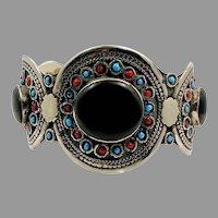 Black Stone Cuff, Agate Aqeeq Stone, Vintage Bracelet, Afghan, Silver Cuff, Middle Eastern, Wide, Kuchi, Gypsy