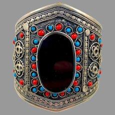 Afghan Bracelet, Black Stone, Agate Aqeeq Stone, Silver, Vintage Bracelet, Wide Cuff, Middle Eastern, Kuchi, Turquoise, Silver Metal