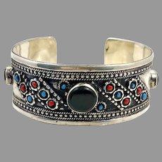 Black Stone Cuff, Kuchi, Agate Aqeeq Stone, Black, Silver, Red, Turquoise, Vintage Bracelet, Middle Eastern, #2