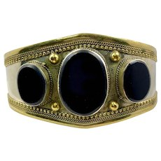 Black Bracelet, Agate Aqeeq Stone, Middle Eastern, Vintage Bracelet, Afghan, Silver, Kuchi, Gypsy, Brass