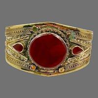 Carnelian Cuff, Kuchi Bracelet, Silver Cuff, Brass, Mixed Metal, Vintage, Afghan, Middle Eastern, Turkmen, Big