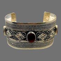 Carnelian Bracelet, Afghan Cuff, Vintage Bracelet, Silver Metal, Middle Eastern, Boho, Embossed, Kuchi, Gypsy