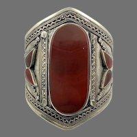 Carnelian Cuff, Kuchi Bracelet, Afghan, Silver Cuff, Vintage Bracelet, Middle Eastern, Red Stone, Turkmen, Big Statement, Ethnic, Large