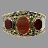 Carnelian Cuff, Kuchi Bracelet, Vintage Bracelet, Middle Eastern, Stone, Turkmen, Silver, Brass, Big Statement, Afghan, Ethnic, Large