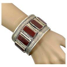 Carnelian Cuff, Silver Metal, Afghan, Silver Cuff, Vintage Bracelet, Middle Eastern, Kuchi, Turkmen, Ethnic, Wide