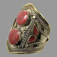 Red Jasper Bracelet, Middle Eastern, Vintage Bracelet, Massive, Afghan, Silver Wide Cuff, Kuchi, Red Composite Stone, Gypsy, Brass