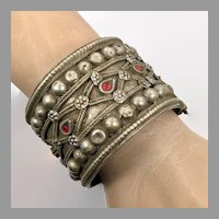 Kuchi Cuff Bracelet, Vintage Bracelet, Afghan, Red Jewels, Middle Eastern, Silver, Aged Patina, Old, Big Statement, Turkmen, Gypsy Ethnic