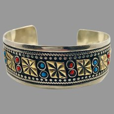 Afghan Cuff, Kuchi, Silver Metal, Brass, Vintage Jewelry, Middle Eastern, Red, Turquoise, Stacking, Gypsy, #2