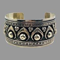 Afghan Bracelet, Silver Cuff, Gypsy, Vintage Bracelet, Middle Eastern, Embossed Metal, Turkoman, Unisex, Mens, Kuchi, Wide