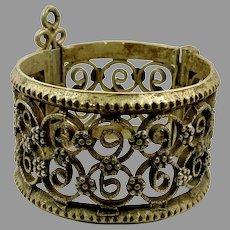 Kuchi Cuff, Boho Bracelet, Vintage Bracelet, Hinged, Afghan, Middle Eastern, Aged Patina, Old, Small Wrist, Turkmen, Gypsy, Ethnic, #2
