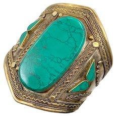 Kuchi Bracelet, Afghan, Green Jasper, Vintage Bracelet, Silver Cuff, Middle Eastern, Brass, Big, Wide, Ethnic, Large, Composite Stone