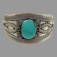 Boho Bracelet, Kuchi Cuff, Afghan Jewelry ,Green Turquoise, Vintage, Turkmen, Silver Metal, Afghan, Ethnic,Tribal, Composite