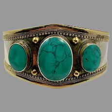 Kuchi Bracelet, Afghan, Vintage Bracelet, Green Turquoise, Middle Eastern, Big, Wide, Ethnic, Tribal, Large Stone, Silver, Brass