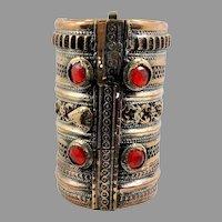 Kuchi Cuff Bracelet, Vintage Bracelet, Red Jewels, Hinged, Wide Bracelet, Big Statement, Turkmen, Gypsy, Ethnic, Afghan, Bohemian