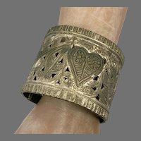 Gypsy Kuchi Bracelet, Hinged, Vintage Cuff, Middle Eastern, Afghan, Ethnic, Small Wrist, Belly Dance
