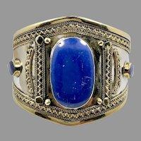 Lapis Bracelet, Afghan, Kuchi Jewelry, Silver Tone Cuff, Brass, Mixed Metal, Vintage Cuff, Middle Eastern, Turkmen