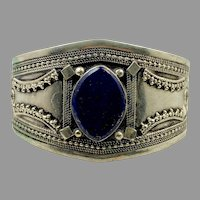 Lapis Cuff, Kuchi Jewelry, Silver Bracelet, Vintage Cuff, Turkmen, Middle Eastern, Blue Stone, Afghan