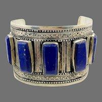 Lapis Bracelet, Kuchi Jewelry, Silver Cuff, Vintage Turkmen, Middle Eastern, Big Statement, Afghan, Ethnic, Tribal, Boho, Unisex, Mens