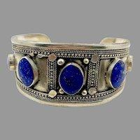 Lapis Bracelet, Kuchi Jewelry, Silver Cuff, Brass, Vintage Bracelet, Middle Eastern, Turkmen, Afghan, Mixed Metal, Gypsy, Nomad
