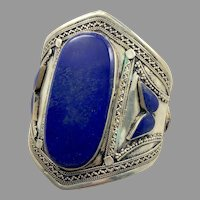 Lapis Bracelet, Middle Eastern, Vintage Bracelet, Afghan, Silver, Wide Cuff, Turkmen, Kuchi, Gypsy, Big Statement, Large