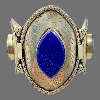Lapis Cuff, Afghan, Middle Eastern, Vintage Bracelet, Silver Cuff, Brass, Kuchi, Gypsy, Wide
