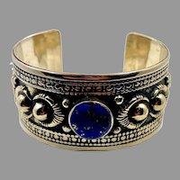 Lapis Bracelet, Afghan, Kuchi Jewelry, Embossed Metal, Silver Cuff, Vintage Cuff, Middle Eastern, Boho, Turkmen
