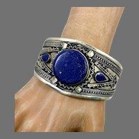 Lapis Bracelet, Afghan, Kuchi Jewelry, Silver Cuff, Vintage Cuff, Middle Eastern, Turkmen